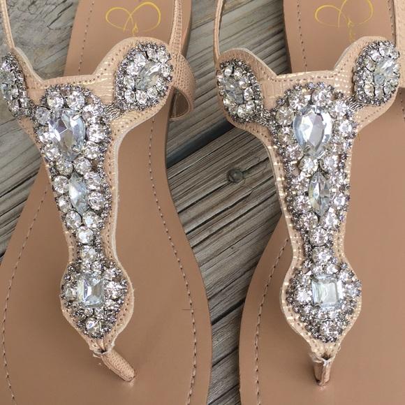 48321b7cc3c55 NWOB Jessica Simpson Jeweled Thong Sandal